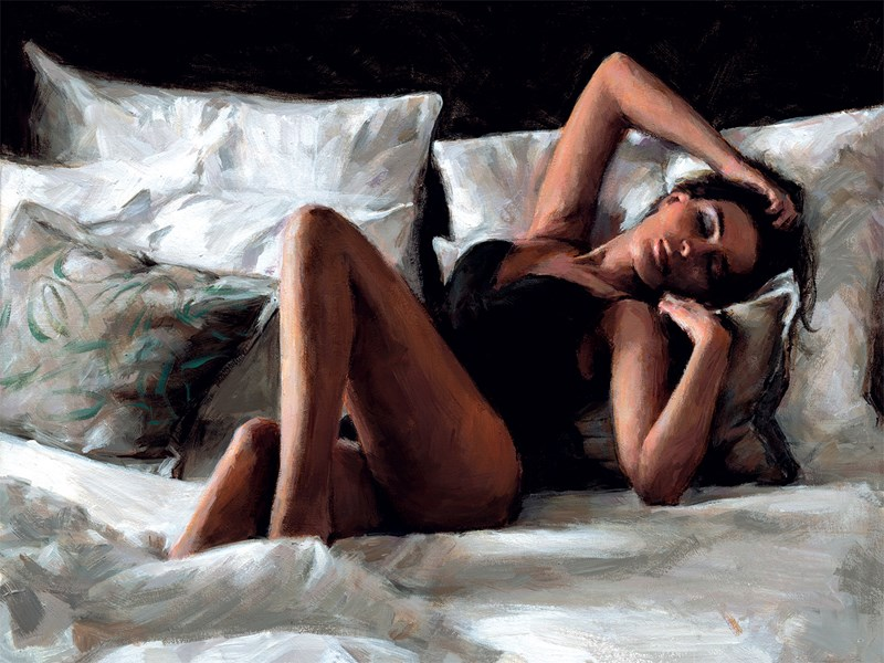 Image: Olga At Home by Fabian Perez | Embelished Canvas on Board